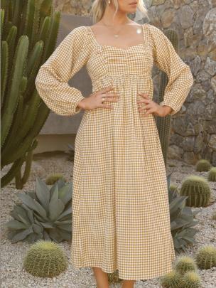 Square-neck Plaid Long-sleeved Dress Nihaostyles Wholesale Clothing NSXIA83172