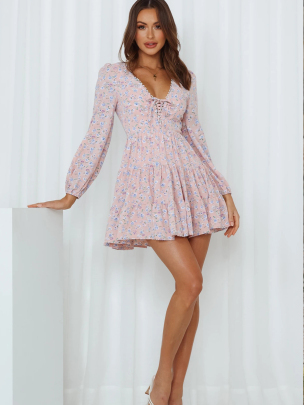 V-neck Long-sleeved Lace-up Floral Dress Nihaostyles Wholesale Clothing NSXIA83171