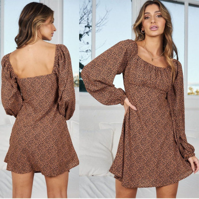 Autumn Leopard Long-sleeved Backless Dress Nihaostyles Wholesale Clothing NSXIA83173