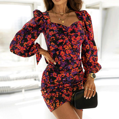 Square Neck Print Long-sleeved Package Hip Floral Dress Nihaostyles Wholesale Clothing NSXIA83174