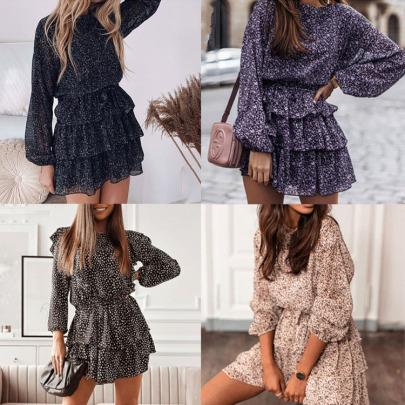 Autumn Round Neck Print Belted Dress Nihaostyles Wholesale Clothing NSXIA83232