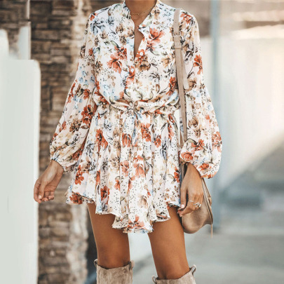 Floral Print Lace-up Shirt Dress Nihaostyles Wholesale Clothing NSXIA83234