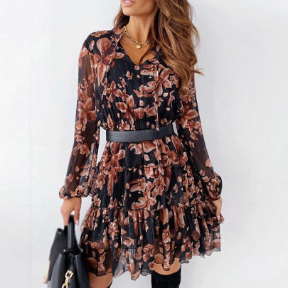V-neck Floral Print With Belt Long-sleeved Chiffon Dress Nihaostyles Wholesale Clothing NSXIA83236