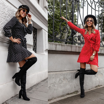 V-neck Slim Lace-up Polka-dot Long-sleeved Dress Nihaostyles Wholesale Clothing NSXIA83256