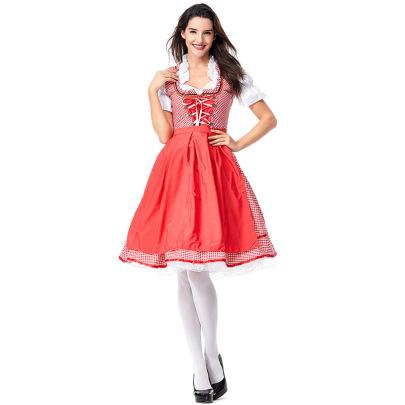 Red Plaid Maid Costume Set Nihaostyles Clothing Wholesale NSPIS81385