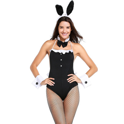Black Bunny Girl One-piece Cosplay Costume Set Nihaostyles Clothing Wholesale NSPIS81388