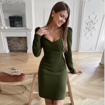 Autumn And Winter V Neck Slim Solid Color Belted Dress Nihaostyles Wholesale Clothing NSYIS83215