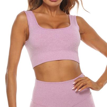 Seamless Vertical Stripes Bra High Waist Leggings High Stretch Yoga Suit Nihaostyles Clothing Wholesale NSZLJ81469