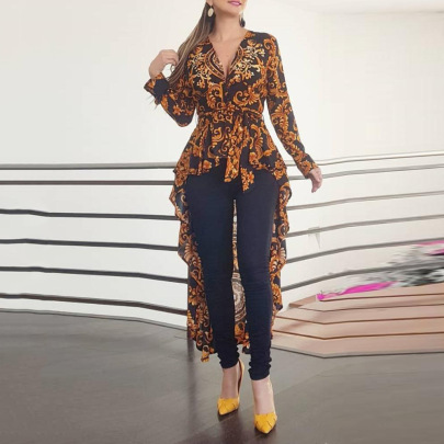 Irregular Print V-neck Long-sleeved Blouse Nihaostyles Clothing Wholesale NSLBS81480