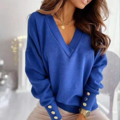 Cuff Button Decoration V-neck Long-sleeved Solid Color Sweatshirt Nihaostyles Clothing Wholesale NSLBS81482