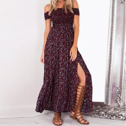 Wrapped Chest Printed Slit Dress Nihaostyles Clothing Wholesale NSLBS81485