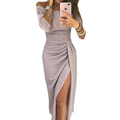 Off-shoulder Slit Dress Nihaostyles Clothing Wholesale NSLBS81486