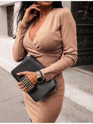 V-neck Slim Dress Nihaostyles Clothing Wholesale NSLBS81487