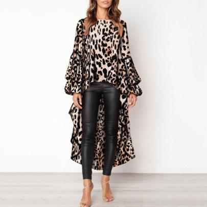 Leopard Print Long-sleeved Irregular Lantern Sleeve Top Nihaostyles Clothing Wholesale NSLBS81489