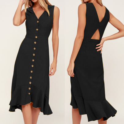 Solid Color V-neck Single-breasted Waistless Backless Dress Nihaostyles Clothing Wholesale NSLBS81490