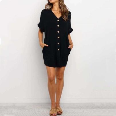 Single-breasted V-neck Short-sleeved Shirt Nihaostyles Clothing Wholesale NSLBS81491