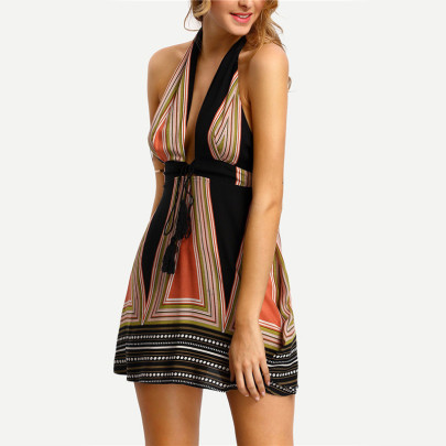 Halter V-Neck Dress With Belt Nihaostyles Clothing Wholesale NSLBS81497