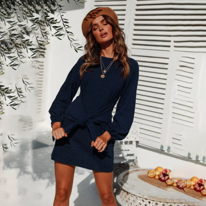 Lace Up Loose Long-sleeved Dress Nihaostyles Clothing Wholesale NSLBS81501