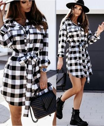 Plaid Long-sleeved Irregular Shirt Dress Nihaostyles Clothing Wholesale NSLBS81504
