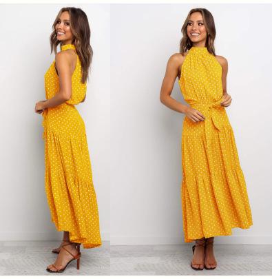 Halter Neck Sleeveless Print Dress With Belt Nihaostyles Clothing Wholesale NSLBS81506