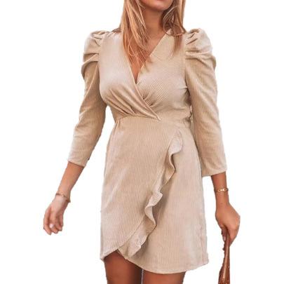Solid Color V-neck Long-sleeved Ruffle Dress Nihaostyles Clothing Wholesale NSLZ81515