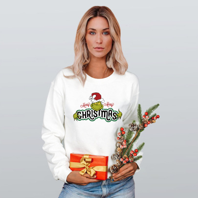 Christmas Heat Transfer Loose Round Neck Pullover Long Sleeve Sweatshirt Nihaostyles Wholesale Christmas Costumes NSMDF81519