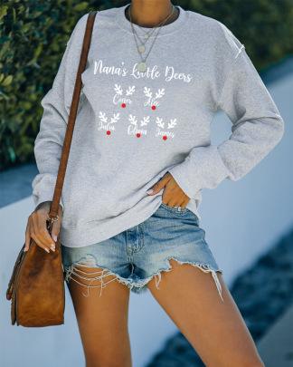 Snowflake Heat Transfer Long-sleeved Round Neck Sweatshirt Nihaostyles Wholesale Christmas Costumes NSMDF81522