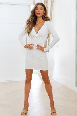 Twist V-neck Long-sleeved Tight-fitting Dress Nihaostyles Clothing Wholesale NSMDF81531