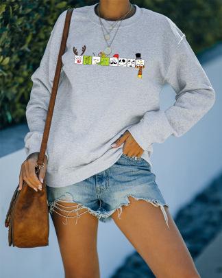 Heat Transfer Loose Round Neck Long-sleeved Sweatshirt Nihaostyles Wholesale Christmas Costumes NSMDF81537