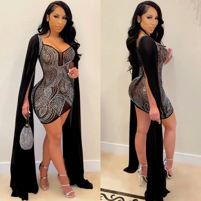 Rhinestone Mesh Long Sleeves Zipper Dress Nihaostyles Clothing Wholesale NSXYZ81553