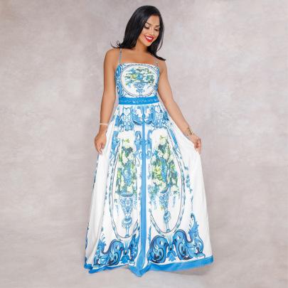 Printed Suspender Dress Nihaostyles Clothing Wholesale NSXYZ81559