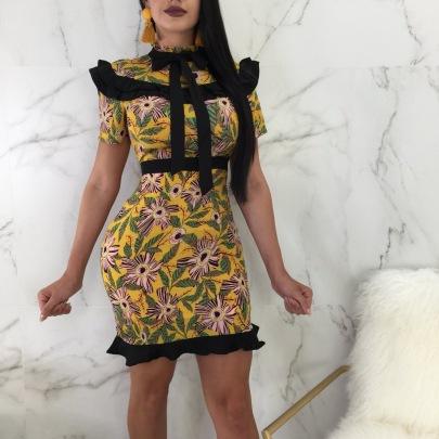 Printed Ruffle Dress Nihaostyles Clothing Wholesale NSXYZ81566