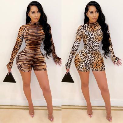 Long-sleeved Leopard Print Jumpsuit Nihaostyles Clothing Wholesale NSXYZ81572