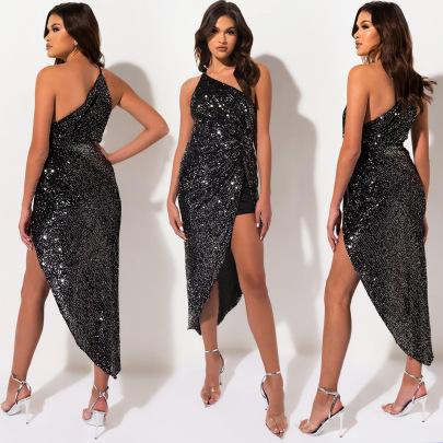 Sequin Irregular Mesh Dress Nihaostyles Clothing Wholesale NSXYZ81580