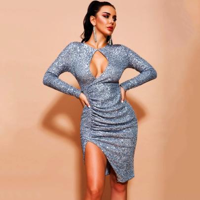 Hollow Sequined Irregular Slit Dress Nihaostyles Clothing Wholesale NSXYZ81583