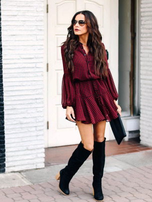 Ruffled Hem Long-sleeved Plaid Dress Nihaostyles Wholesale Clothing NSXIA83243