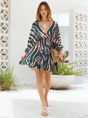 V-neck Color Stripe Print Long-sleeved Dress Nihaostyles Wholesale Clothing NSXIA83210