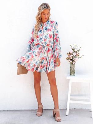 Flower Print Buttoned Lantern Long Sleeve Dress Nihaostyles Wholesale Clothing NSXIA83222