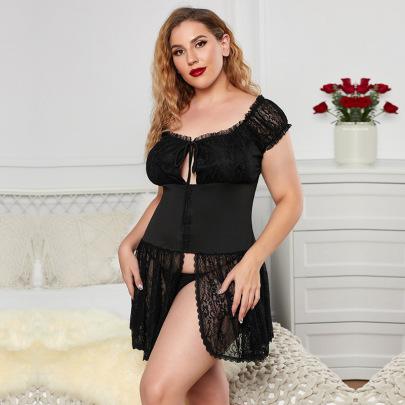 Plus Size Women's Lace Nightdress Nihaostyles Clothing Wholesale NSMDS77141