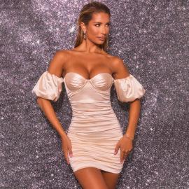 Women's Pleated High-elastic Satin Lantern Sleeve Dress Nihaostyles Clothing Wholesale NSDMS77154