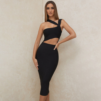 Women's Mid-length Solid Color Tube Top Dress Nihaostyles Clothing Wholesale NSDMS77157