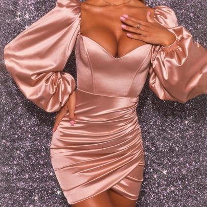 Women's Wrap-chest Pleated Lantern Sleeve Dress Nihaostyles Clothing Wholesale NSDMS77158