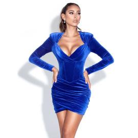 Women's Velvet Long-sleeved Pleated Dress Nihaostyles Clothing Wholesale NSDMS77161