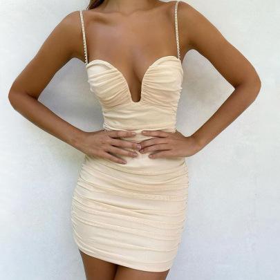 Women's Sling Mesh Shoulder Strap Inlaid Rhinestone Shorts Dress Nihaostyles Clothing Wholesale NSDMS77172