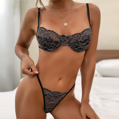 Lace Steel Ring Lingerie Set Nihaostyles Clothing Wholesale NSRBL77183