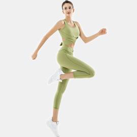 Women's Fitness Vest Hip-lifting Leggings Two-piece Yoga Suit Nihaostyles Clothing Wholesale NSSMA77186