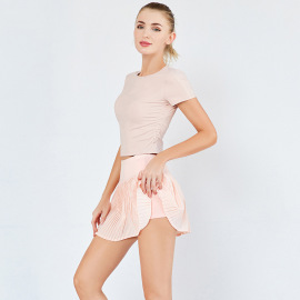 Women's Quick-drying T-shirt Short Skirt Two-piece Yoga Suit Nihaostyles Clothing Wholesale NSSMA77188