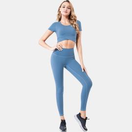 Women's Sports Crop Top High Waist Leggings Two-piece Yoga Suit Nihaostyles Clothing Wholesale NSSMA77225