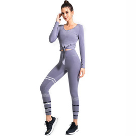 Striped Lace Quick-drying Printing Two-piece Yoga Suit Nihaostyles Clothing Wholesale NSSMA77229