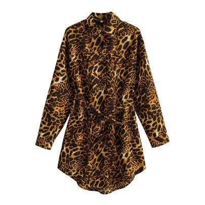 Women's Leopard Print Shirt Dress With Belt Nihaostyles Clothing Wholesale NSXPF77236